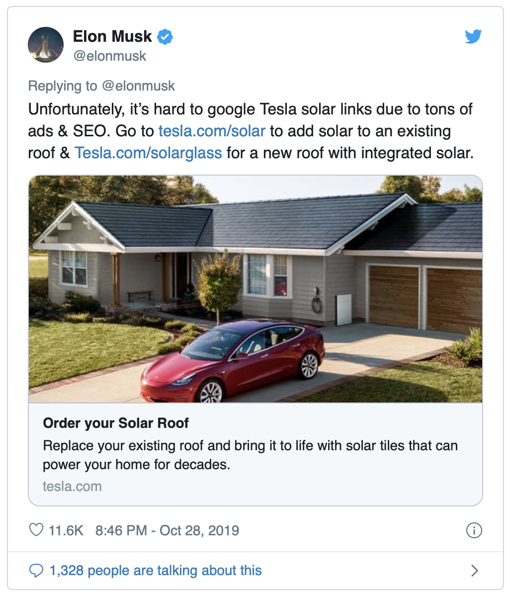 Elon Musk:   Unfortunately, it's hard to google Tesla solar links due to tons of ads & SEO